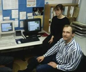 Nicola Pellow und Kollege (Foto CERN)