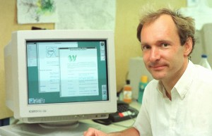 Tim Berners-Lee mit dem WorldWideWeb (Foto CERN)