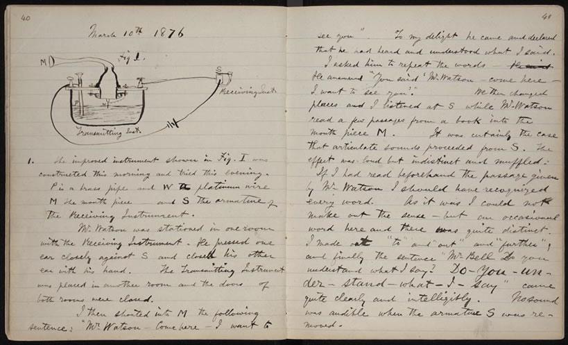 Laborbuch von Alexander Graham Bell (10. März 1876)