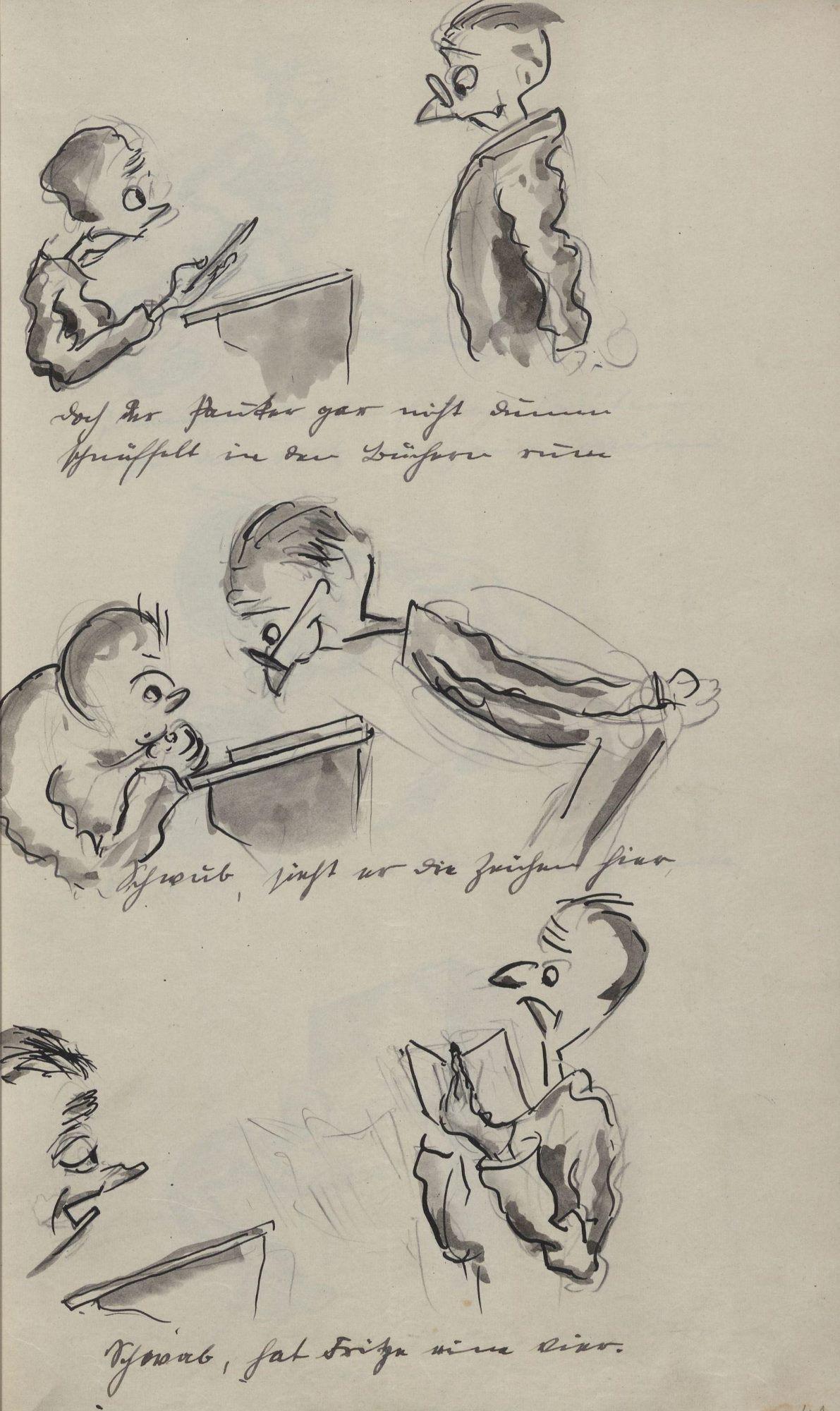 doch der Pauker gar nicht dumm schnüffelt in den Büchern rum Schwub, sieht er die Zeichen hier Schwab, hat Fritze eine Vier