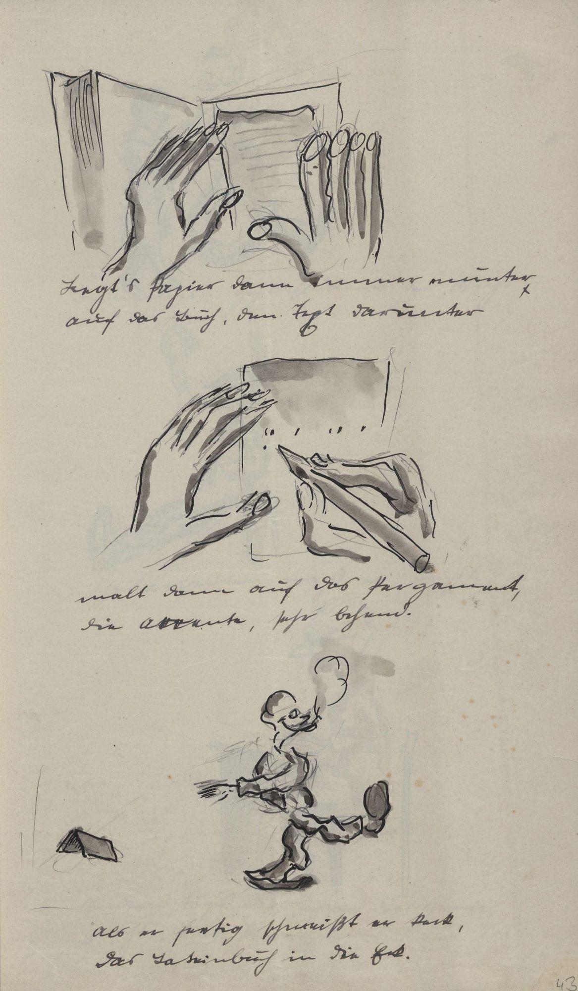 Legt's Papier dann immer munter auf das Buch, den Text darunter malt dann auf das Pergament die Accente sehr behend Als er fertig schmeißt er keck das Lateinbuch in die Eck.