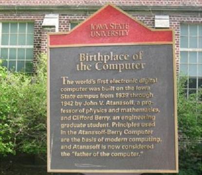 Erinnerungstafel für John Atanasoff (Foto Iowa State University)