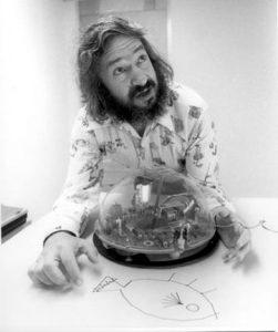 Seymour Papert 1973 mit Schildkröte (Foto Computer History Museum)