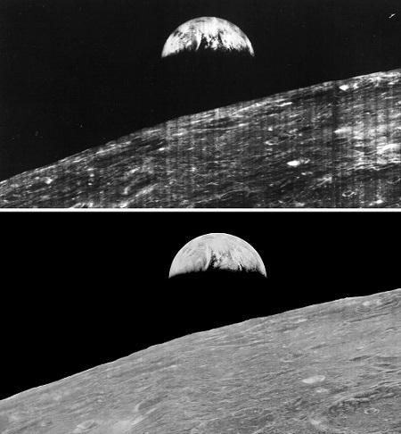 Lunar-Orbiter-Foto in analoger Form (oben) und neu digitalisiert (unten)