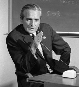 Engelbart probt 1968 seine berühmte Präsentation (Foto SRI)